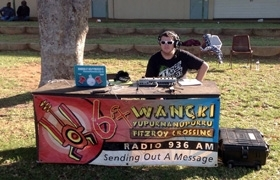 Photo of broadcasting live outdoors